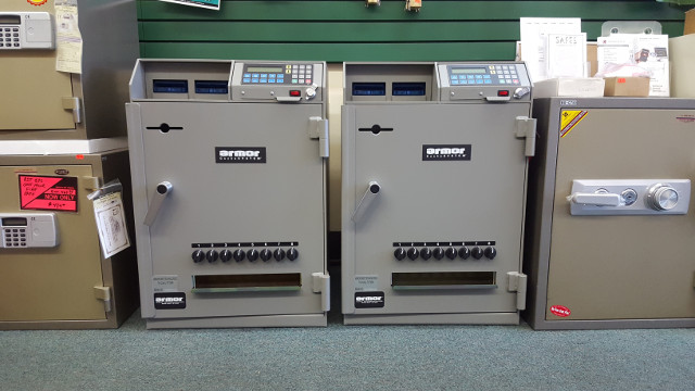 multiple safes on display